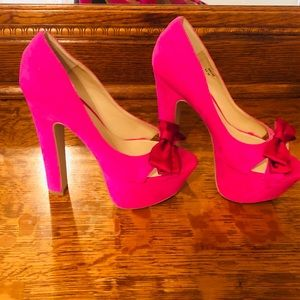 MADISON PINK PEEP TOE PUMPS